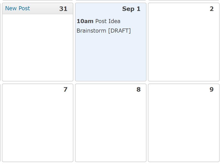 screen shot editorial calendar blogging process