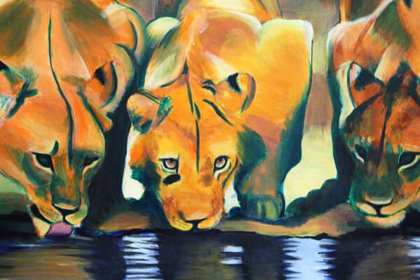 3 Lions · 2000 · Acrylic paint on canvas