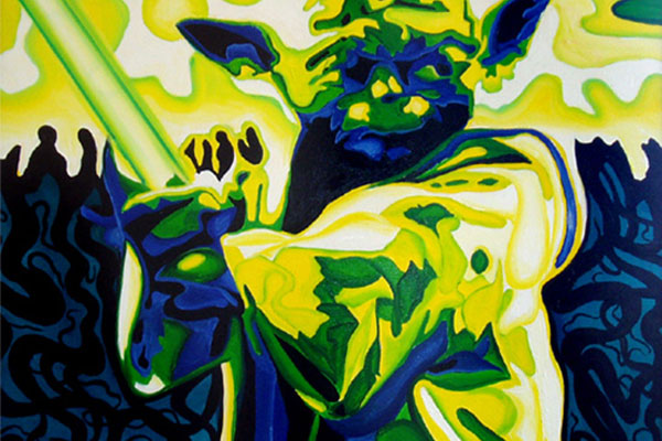 Yoda · 2004 · Oil paint on particle board