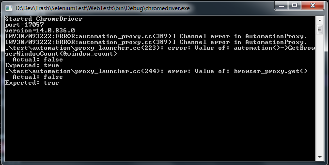 Console left open after running the Chrome web driver