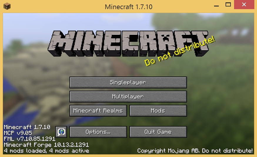 Minecraft start screen with Forge