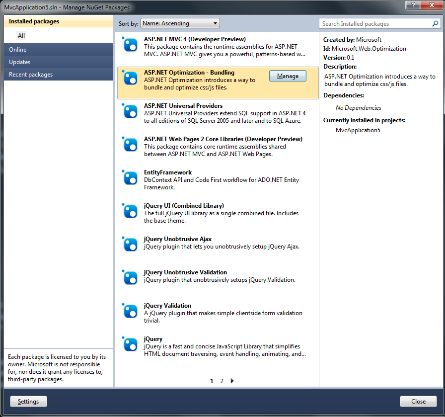 NuGet packages in ASP.NET MVC 4 Preview