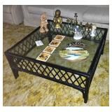 Black and glass Coffee table, decorations