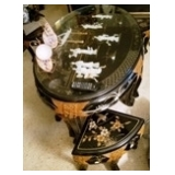 Small coffee table w/stools, inlaid  figures