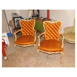 Antique Pair Louie VI Arm Chairs with coil springs