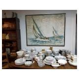 Large Painting of Racing Sailboats by Kenton