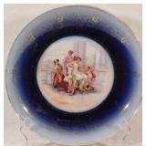 Large Kaufmann Plate with VICTORIA image of Crown and Austria stamp underglaze Circa 1890s 12 inches