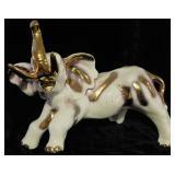 Vintage Porcelain and Gold Elephant