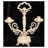 Antique Iron Candelabra painted beige