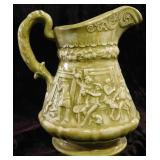 Large Antique Green Pitcher Embossed with The Legend of Sleepy Hollow.