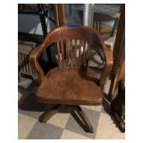 Old Solid Wood Desk Chair
