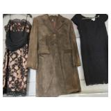 LADIES SIZE 6 & 8 COCTAIL DRESSES, LADIES SUEDE COAT