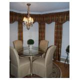 """Ital Art 48"""" Round Table and 4 H.T.B. Upholstered Skirted Chairs"""