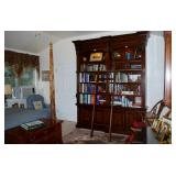 """Hooker European Renaissance 104"""" Tall Double Bookcase with Ladder"""