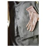 Ladies Vintage Hand-Sewn Gray Suit, Pink Pearl-Trimmed Gloves
