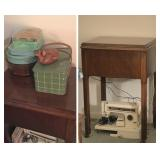 Kenmore Sewing Machine, Antique Wood Sewing Table, Vintage Sewing Kits & JV Orel Whale Trinket Box