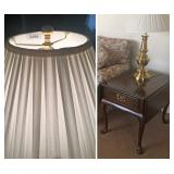Pair of Stiffel Brass Lamps w/Original Shades, Harden Solid Cherry Side Tables
