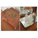 Vintage Carved Cedarwood Keepsake Box,3-Pc Art Deco Faceted Glass Perfume Set & Mirrored Vanity Tray