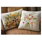 Vintage Handmade Crewel Embroidered Pillows