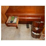 1949 Singer 201-2 sewing machine cabinet with open drawers