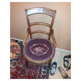 Chair w cross stitching needs repairs