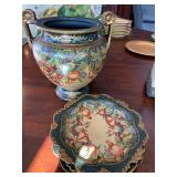 Decorative urn and plates