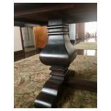 Double pedestal trestle dine table base
