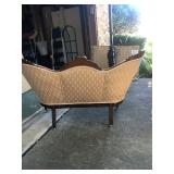 1920 Cherry wood Champagne tufted fabric Settee Back Excellent condition