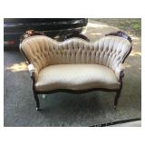 1920 Cherry wood Champagne tufted fabric Settee Excellent condition