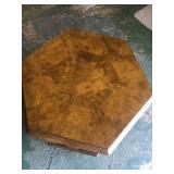 Burlwood Walnut Hexagon End Table Top