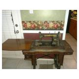 1913 Vintage White Rotary Treadle Sewing Machine in Tiger Oak Cabinet