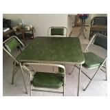 Card table, padded chairs