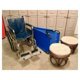 Wheelchair, cot, stools