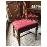 Antique dining table, leaf, table pads & 5 chairs $3