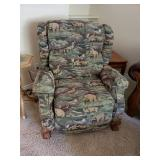 One of 2 matching recliner wing back chairs