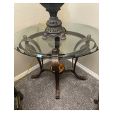 Heavy Glass table with metal bottom
