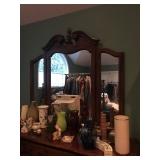 Dresser with mirrors, glassware, etc.