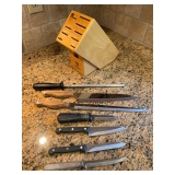 Wood Knife Block w/ Assorted Knives