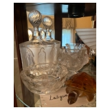 Lalique Ash Tray, Figurine Turtle,Decanter, Glass