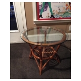Bamboo Table w/ Glass Top