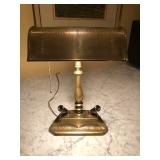 Hand-tooled Brass Desk Lamp w/ Pen Holders