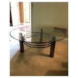 Glass Top Table on Metal Base