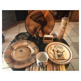 Egyptian vintage copper plates, papyrus