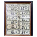 Framed Lot of Silver Certificates