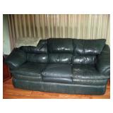 Living Room  Green leather couch #1