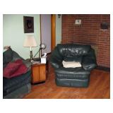 Living Room  Green leather chair,