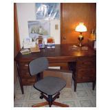 Basement Wash Room  Oak Desk, Office Chair, Cards, Lamp