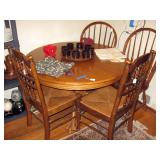Dining Room  Round Oak Table, 2 Rush Chairs, 2-Oak Chairs