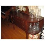 Living Room  Oak Buffet, Windup Clock, Drug Store Jars, Oil Lamps