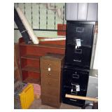 Basement Back Room Wood Shelf, 2 drawer file cabinet (2), 4 drawer cabinet, Small cabinet